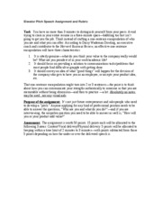 Elevator Pitch Speech Assignment and Rubric