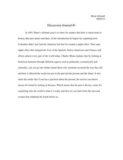 History Discussion Journal #1