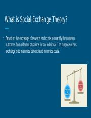 Social Exchange Theory in Relationships Lauren Schroeder individual contribution