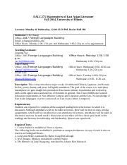 syllabus EALC275 Masterpieces of East Asian Literature
