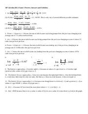 AP Calc Exam 1 Preview answers and solutions