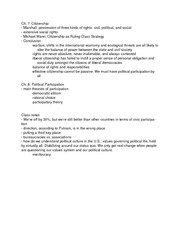 Class Notes- Citizenship and Participation