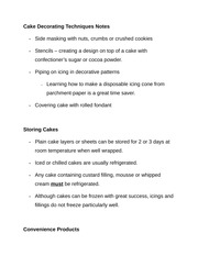 Cake Decorating Techniques Notes