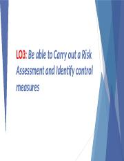 LO3 - Be able to Carry out a Risk Assessment & Identify Control Measures