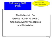 Phil ppt 5 Hellenistic period coping philosophies Rev, 1.12