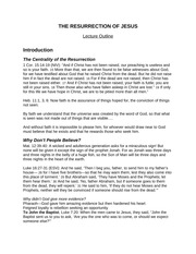 RESURRECTION Of JESUS - Lecture Outline