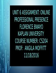 Unit6 Assignment Professional Presence