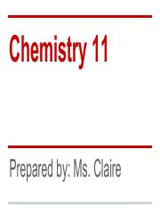 Chemistry 11 Introduction