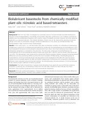 Biolubricant basestocks from chemically modified