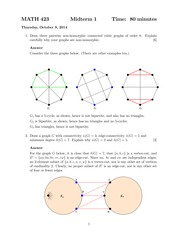 MATH 423 Fall 2014 Midterm 1 Solutions