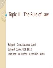 Topic 3 Rule of Law