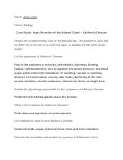 Case Study- Hypo Secretion of the Adrenal Gland – Addison's Disease .docx