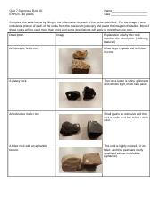 "Copy of Earl Chism - Assignment 23 Igneous Rock ID Quiz - 2361530.3 Igneous Rock ID ""Quiz"".docx"
