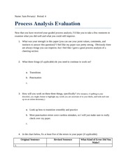 Process Analysis Evaluation