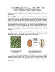 The Effect of Road Salt on the Growth of Mong Beans
