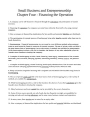 Chapter Four - Financing the Operation