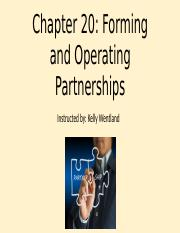 Chapter 20 Forming and Operating a Partnership