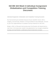 ISCOM 424 Week 5 Individual Assignment Globalization and Competition Training Document