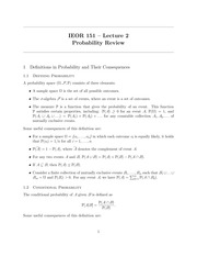 IEOR 151 - Lecture 2, Probability Review - Fall 2014