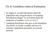Chapter 8 Confidence Interval