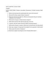 HIST3 CHAPTER 1 STUDY GUIDE