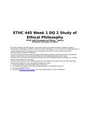 ethc week assignment ethics paper running head 2 pages ethc 445 week 1 dq 2 study of ethical philosophy