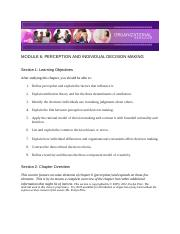 Chapter 6 - Perception and Individual Decision-Making - Module