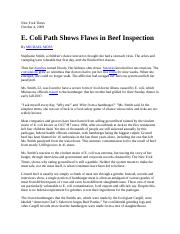 E. Coli Path Shows Flaws in Beef Inspection