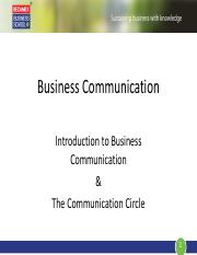 Business Communication_Lecture 1.0_Introduction to Business Communication & The Communication Circle