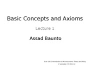 Lecture 1 - Axioms