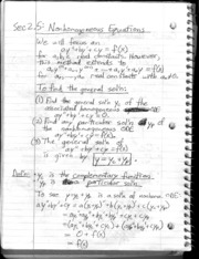 Section 2.5 - Nonhomogeneous Equations and Undetermined Coefficients
