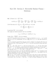 STATS 150 Reversible Markov Chains Problem Solutions