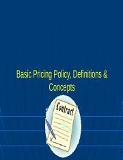 1 Pricing Policy & Concepts