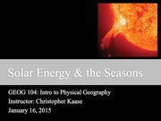 03 - Solar Energy & Seasons