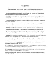 Chapter six antecedents of online privacy protection behavior