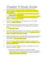 Chapter 9-12 Study Guide government