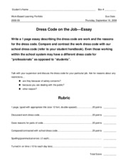 18 Workplace -- Dress Code on the Job Essay (essay with rubric)