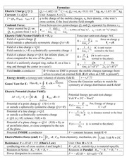 PHY132 Formulae Midterm 1