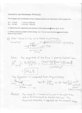 Coulomb's Law Worksheet Homework - Coulombs Law Worksheet ...