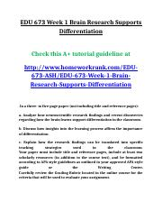 EDU 673 Week 1 Brain Research Supports Differentiation.doc