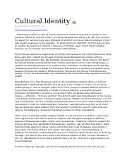 cultural identity and diaspora essay This free sociology essay on essay: cultural identity is perfect for sociology students to use as an example.