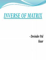 INVERSE OF MATRIX DP Kaur