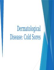 Dermatological Disease Project - Cold Sores PPT