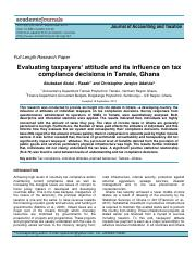 Evaluating taxpayers' attitude and its influence on tax compliance decisions in Tamale Ghana