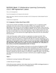 NUR504 Week 2 Collaborative Learning Community (CLC) EBP Agreement Latest.doc