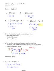 8.3 Solving Equations with Brackets