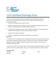 columbian exchange essay docx sherkeyra jackson date 2 pages 01 04 columbian exchange essay