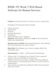 BSHS 352 Week 2 Web-Based Software for Human Services