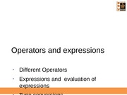 L16-17-Operators, Expression Evaluation and Type Conversion