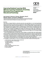 Improving Students Learning With Effective Learning Techniques [Dunlosky 2013]